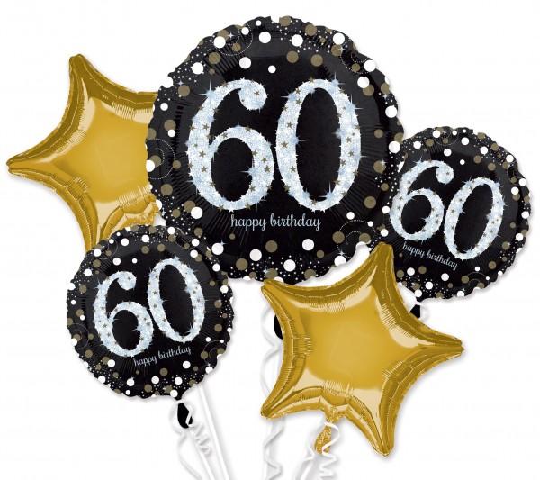 Golden 60th Birthday Ballon Bouquet