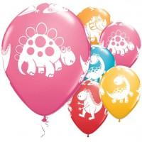 6 Süße Saurier bunte Luftballons 28cm