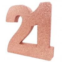 Roségoldene Zahl 21 Aufsteller glitzernd