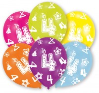 6 bunte Luftballons 4.Geburtstag 27,5 cm