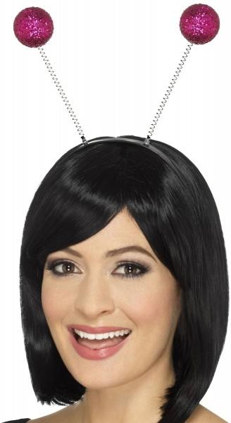 Glamour Haarreif mit pinken Glitzerkugeln