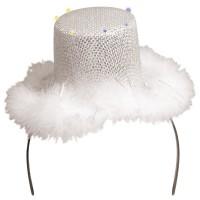 Glitzer-Plüsch LED Hut-Reif Weiß