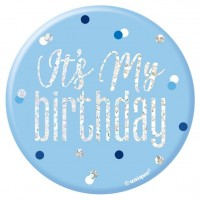 Sparkling Blue Its my Birthday Anstecker 7cm