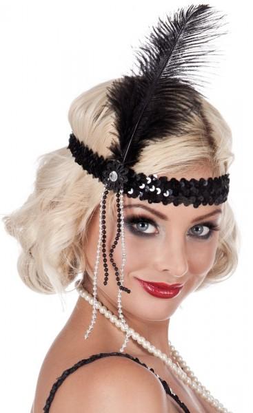 20er Jahre Stirnband Mit Pailletten & Feder