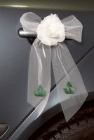4 Tüllschleifen mit Rose für Autotüren