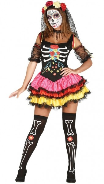 Colorful Day Of The Dead Petticoat Costume