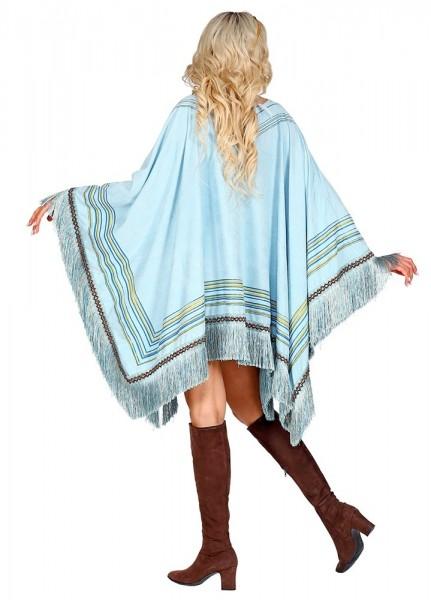 Ethno Poncho azurblau für Damen