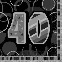 16 Happy Silver Sparkling 40th Birthday Serviette 33cm