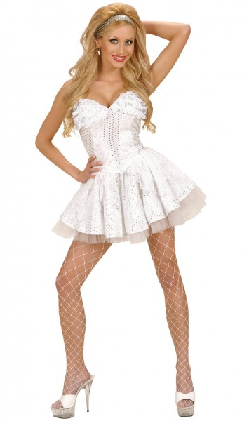 Party sequin corset in white