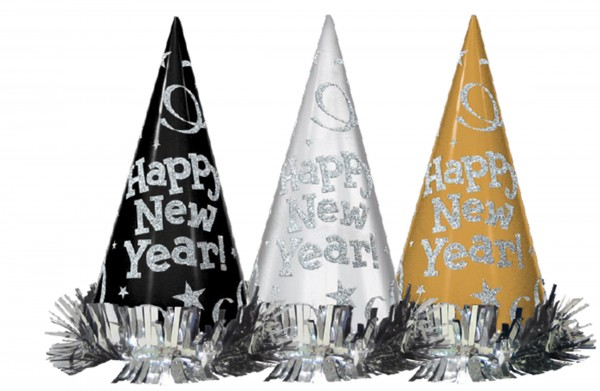 12 New Year's wish party hats 22cm