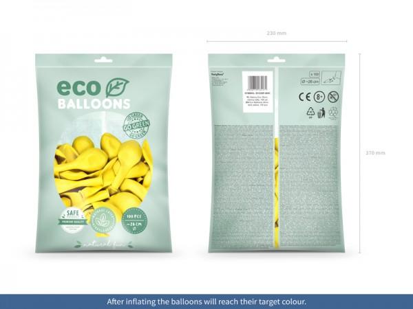 100 eco pastel balloons yellow 26cm