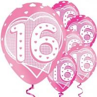 6 Lovely 16th Birthday Luftballons 28cm