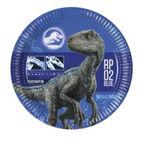 8 Jurassic World Pappteller blau 23cm