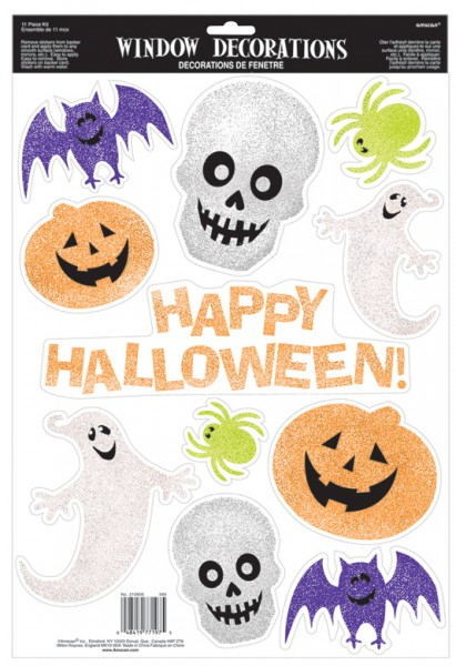Halloween party glinsterende raamstickers 11 stuks