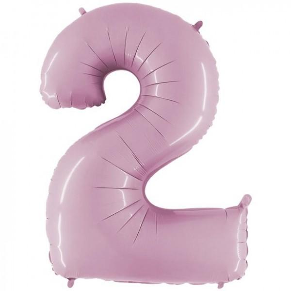 Palloncino foil numero 2 rosa pastello 102 cm