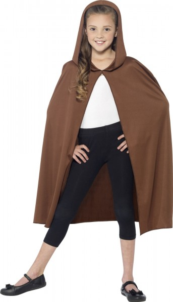 Brown hooded cape for children