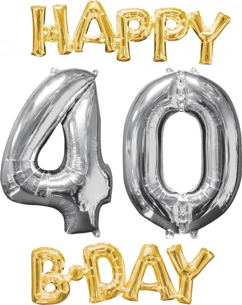 Foil balloons Happy 40 Birthday 4 pieces