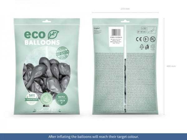 100 ballons éco métalliques argent 30cm