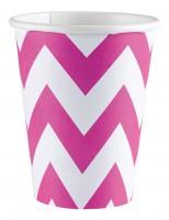 8 Süße Zacken Pappbecher pink 266ml