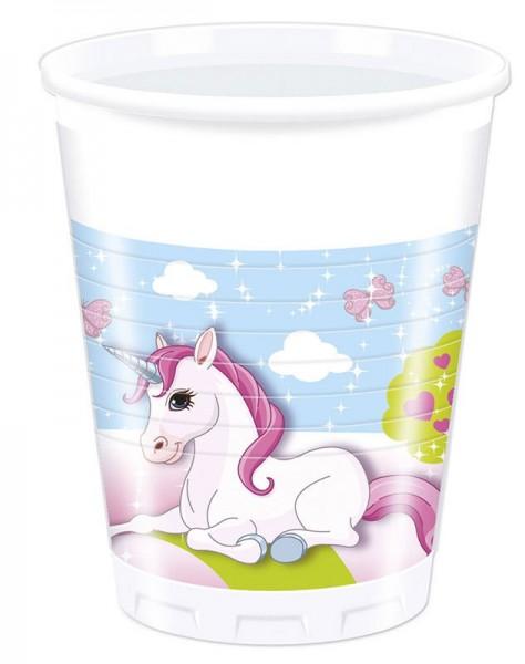8 unicorn dream world plastic cups 200ml