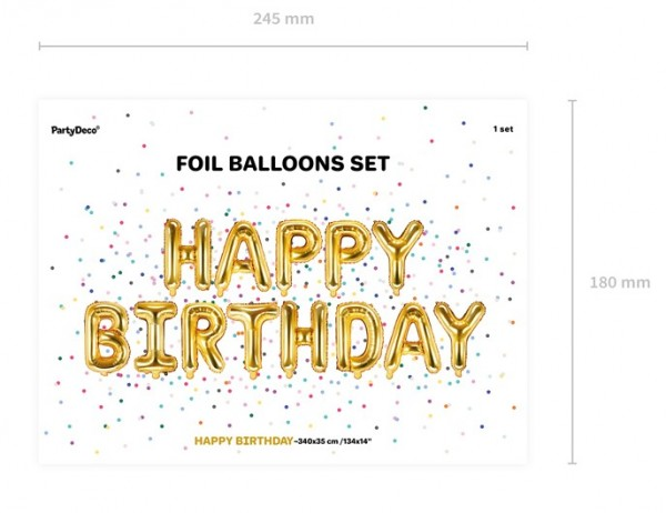 Ballon Happy Birthday doré 3.4m x 35cm