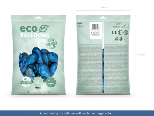 100 Eco metallic Ballons royalblau 30cm