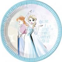 8 Sparkled Frozen Pappteller 23cm