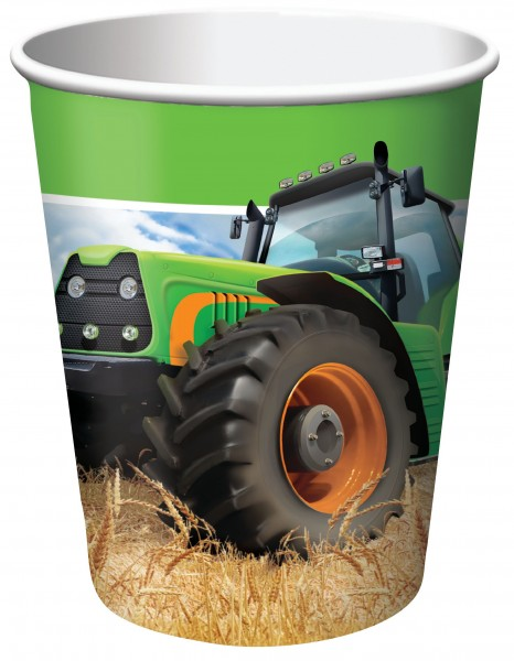 8 Traktor Party Pappbecher 256ml