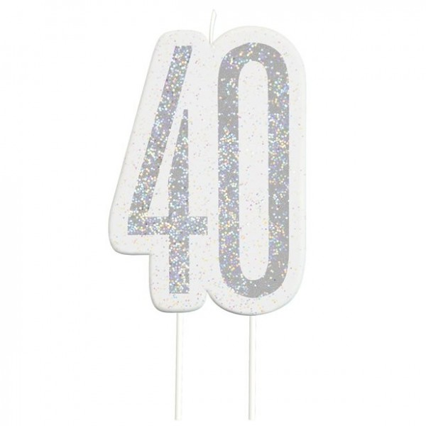 40th birthday silver cake candle