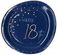 18. Geburtstag 8 Pappteller Elegant blue