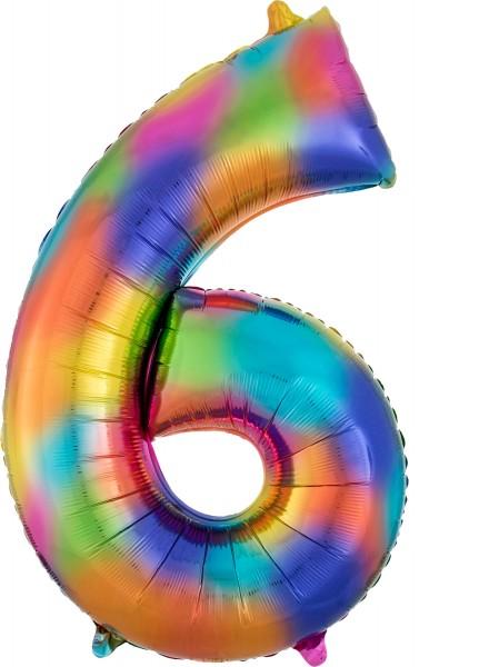 Rainbow number 6 foil balloon