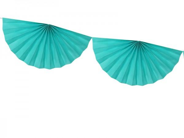 Guirlande Rosette Daphné turquoise 3m x 40cm