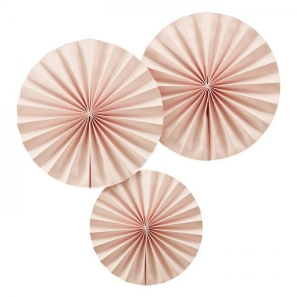 3 rosette di carta decorative pesca 36 cm
