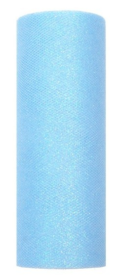 Glitzer Tüll Estelle azurblau 9m x 15cm