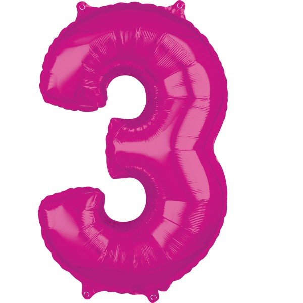 Pink number 3 foil balloon 66cm