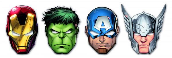 6 masques en carton Avengers Heroes