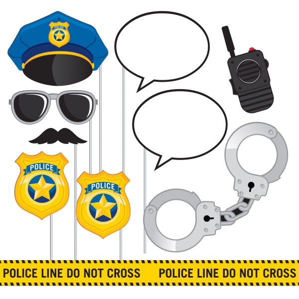 10 Polizei Revier Foto Requisiten 25cm