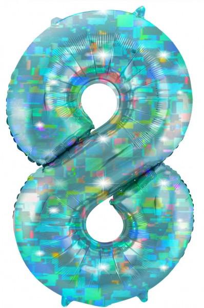 Holografische Zahl 8 aqua 1,01m