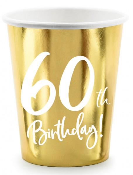 6 Glossy 60th Birthday bekers 220ml