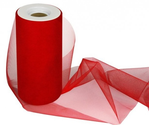 Tulle table roll Maya red 25m x 15cm