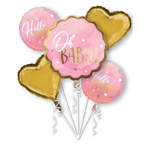 Bouquet de ballons Hello World rose