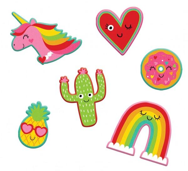 6 botones adhesivos Lovely Rainbow Land