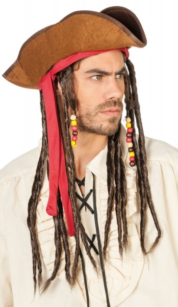 Premium Piratenhut Mit Dreadlocks
