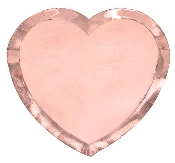 6 platos de papel en forma de corazón de oro rosa 21 x 19 cm
