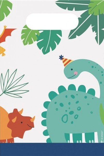 8 sacs en papier Party Dinos 23 x 16 cm