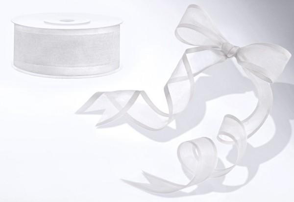 Ruban mousseline de soie 25m avec coins en satin blanc largeur 25mm