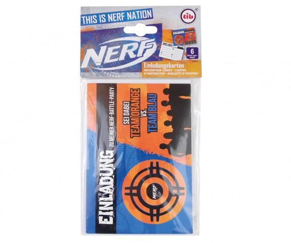 6 Nerf Battle Zone Einladungskarten mit Umschlag