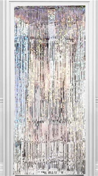 Rideau de porte Holo-Party argent 2,4 m
