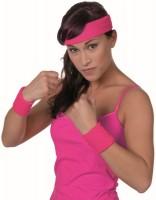 80er Jahre Stirnband mit Schweißbändern Pink