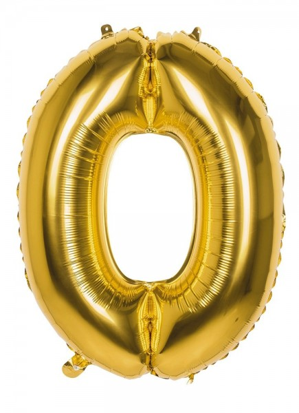 Foil balloon number 0 gold metallic 86cm
